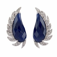 Meghna Jewels Claw Half Moon Studs Blue Sapphire And Diamonds White Blue Silver
