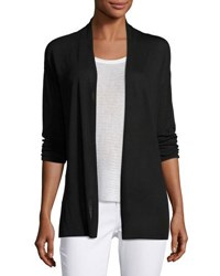 Joan Vass 3 4 Sleeve Open Front Cardigan Black