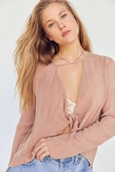 Silence And Noise Strappy Surplice Blouse Taupe