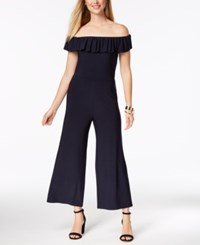 Love Scarlett Petite Off The Shoulder Ruffle Jumpsuit Created For Macy's Navy