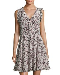 Rebecca Taylor Lindsay Floral Print Fit And Flare Silk Dress Black Pink