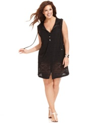 Dotti Plus Size Cover Up Sleeveless Pointelle Zip Front Hoodie Women's Swimsuit