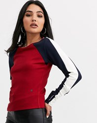 G Star Sporty Colourblock Long Sleeved T Red