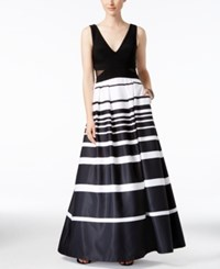 Xscape Evenings Illusion Inset Striped Ball Gown Black White