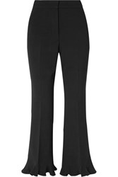 Stella Mccartney Cropped Ruffled Wool Blend Flared Pants Black