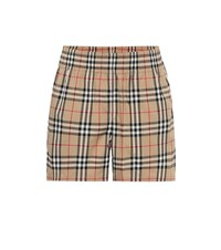 Burberry High Rise Stretch Cotton Shorts Beige