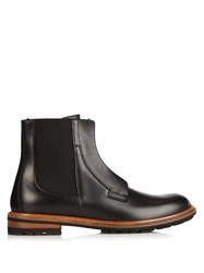 Dolce And Gabbana Leather Zip Up Chelsea Boots Black