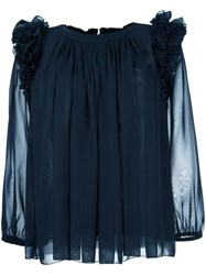 Steffen Schraut Ruffled Shoulder Detailing Blouse Blue