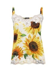 Dolce And Gabbana Sunflower Print Lace Trimmed Silk Camisole Yellow Print