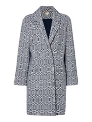 Linea Driftwood Jacquard Coat Navy And White