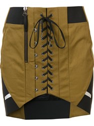 Anthony Vaccarello Corset Effect Skirt Nude And Neutrals