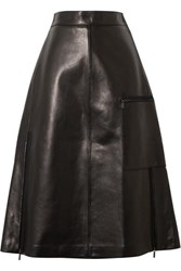 Acne Studios Ligrid Paneled Leather Skirt Black