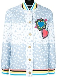 House Of Holland Heart Varsity Bomber Jacket Blue