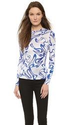 Rodarte Printed Long Sleeve Top White Blue