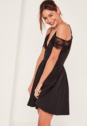 Missguided Black Lace Trim Cold Shoulder Skater Dress