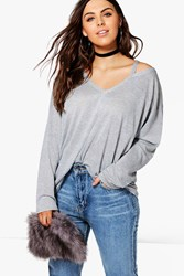 Boohoo Tiffany Shimmer Cut Out Tee Silver