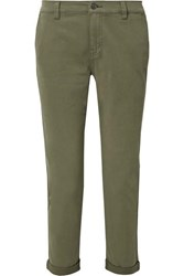 Current Elliott The Confidant Cotton Blend Twill Straight Leg Pants Green