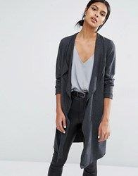 Y.A.S Evita Long Wool Cardigan Dark Grey Melange