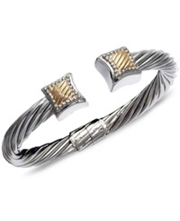 Macy's 14K Gold And Sterling Silver Bangle Square Cable