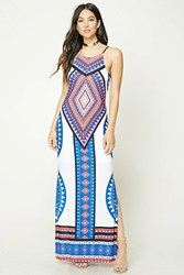 Forever 21 Halter Geo Print Maxi Dress White Blue