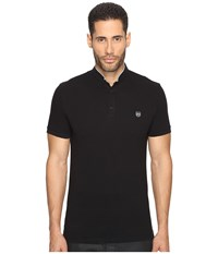 The Kooples Officer Collar Polo With Contrasting Trim Black Sky Blue Men's T Shirt