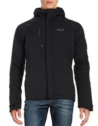 Jack Wolfskin Breathable Waterproof Hooded Activewear Jacket Black