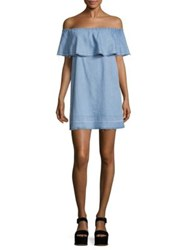 7 For All Mankind Off The Shoulder Chambray Dress Cool Wave Blue