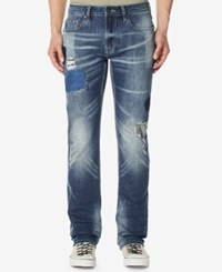 Buffalo David Bitton Men's Six X Straight Fit Stretch Jeans Sandblasted And Worn