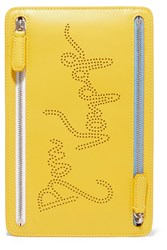 Smythson Picadilly Perforated Leather Wallet Yellow