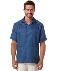 Cubavera Short Sleeve 4 Pocket Guayabera Shirt Ensign Blue