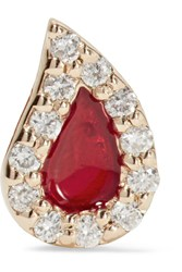 Alison Lou Blood Drop Enameled 14 Karat Gold Diamond Earring One Size