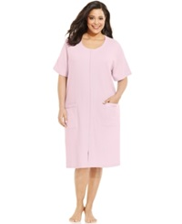 Charter Club Plus Size Short Sleeve Zip Robe Cherub
