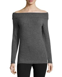 Nicole Miller Cashmere Off The Shoulder Sweater Black