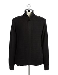 Dkny Quilted Zip Front Sweater Black