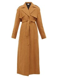 Khaite Blythe Checked Wool Trench Coat Brown Multi