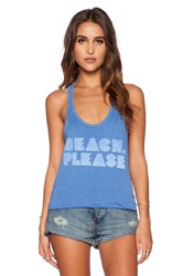 Local Celebrity Beach Please Nikki Tank Blue