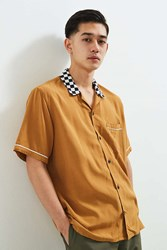 Urban Outfitters Uo Liam Bowling Shirt Dark Yellow