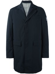 Moncler Gamme Bleu Logo Patch Single Breasted Coat Blue