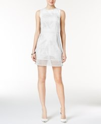 Armani Exchange Cotton Tiered Perforated Detail Dress White