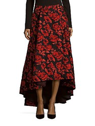 Alice Olivia Rose Print Hi Lo Skirt Red Multicolor