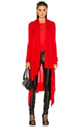 Rick Owens Long Wrap Sweater In Red