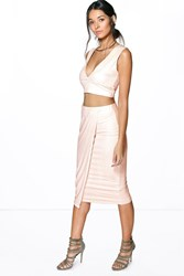 Boohoo Suedette Line Bralet And Wrap Skirt Co Ord Sand