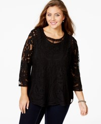 American Rag Plus Size Three Quarter Sleeve Scoop Neck Top Only At Macy's Classic Black