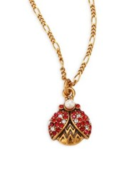 Marc Jacobs Ladybug Crystal And Faux Pearl Pendant Necklace Gold Red