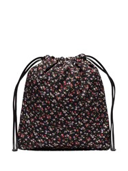 Miu Miu Black Faille Ditsy Floral Drawstring Bag 60
