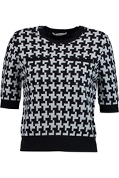Carven Houndstooth Wool Sweater Black