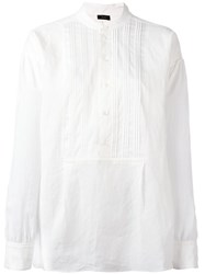 Joseph Henley Blouse Women Cotton Linen Flax 38 White