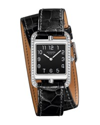 Hermes Cape Cod Gm Watch With Alligator Embossed Leather Strap Black