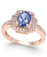 Macy's Tanzanite 1 1 8 Ct. T.W. And Diamond 1 3 Ct. T.W. Ring In 14K Rose Gold