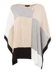 Episode Knit Poncho With Buckle Grey